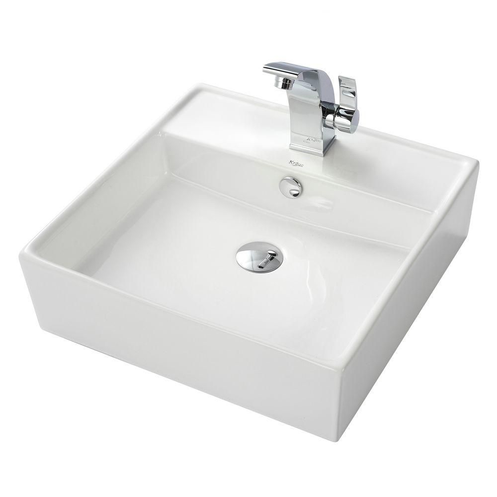 White Square Ceramic Sink and Illusio Basin Faucet Chrome C-KCV-150-14701CH Canada Discount