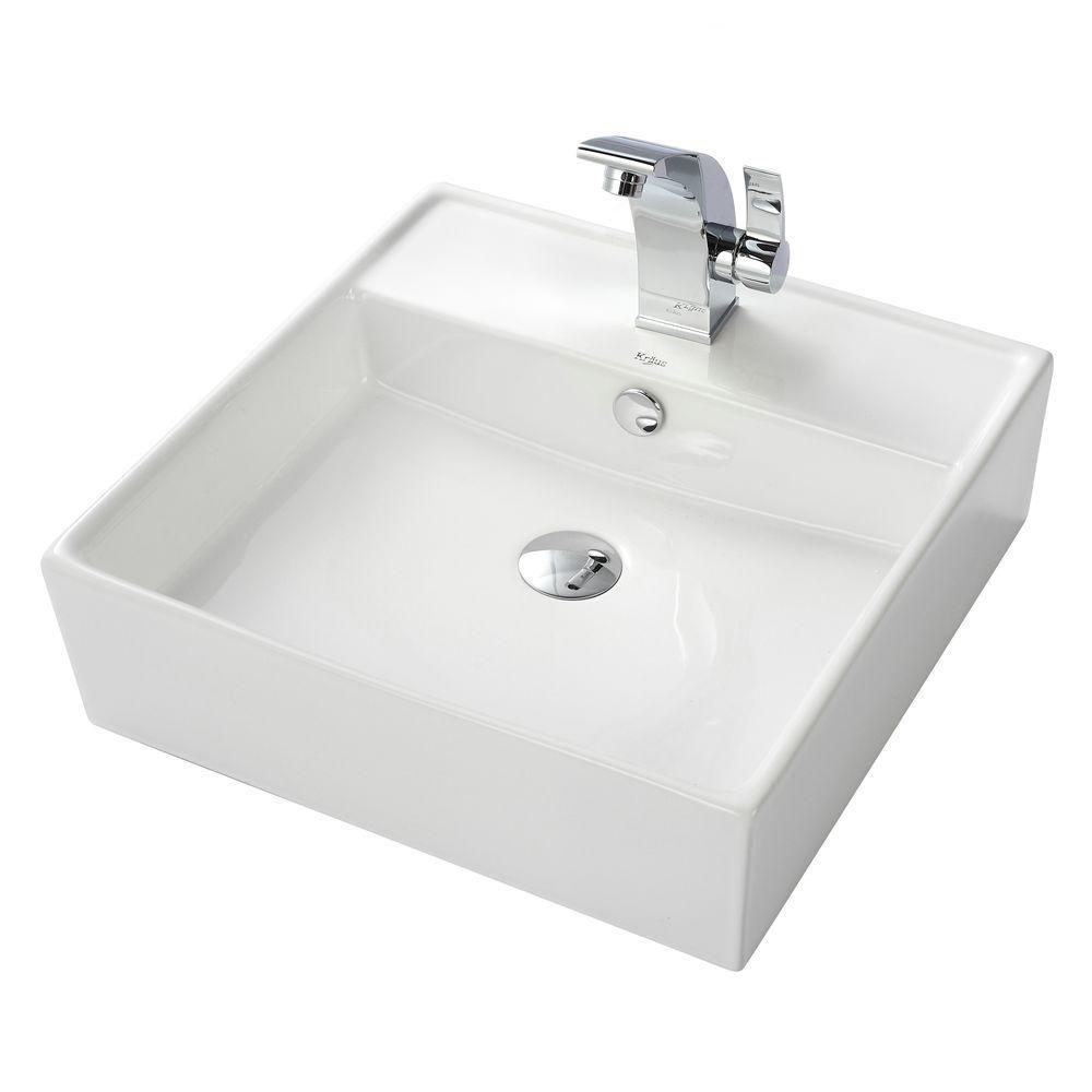 Lavabo carré blanc en céramique avec robinet de bassin Illusio, chrome