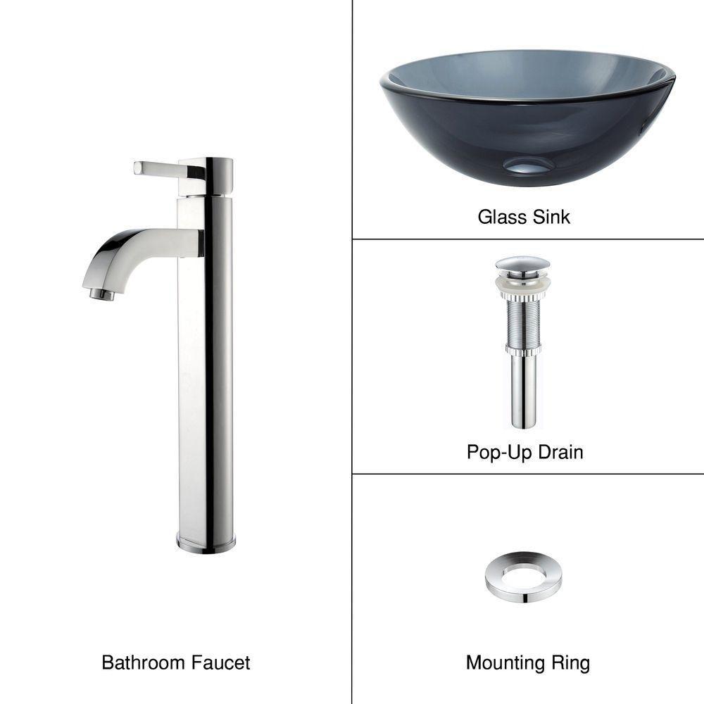 Lavabo-vasque en verre noir transparent de 35,6 cm (14 po) et robinet Ramus, chrome