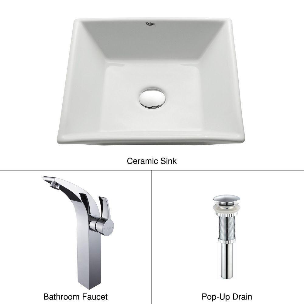 Square Ceramic Sink in White with Illusio Faucet in Chrome