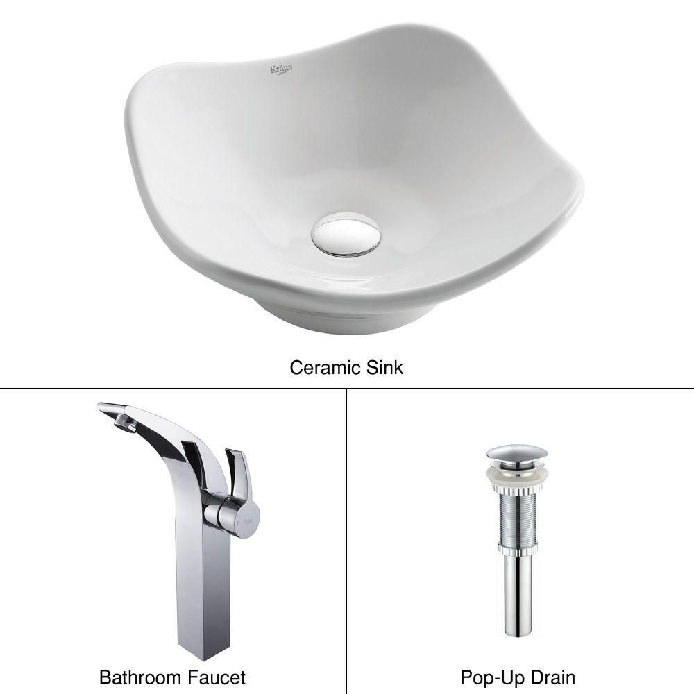 Tulip Ceramic Vessel Sink in White with Illusio Faucet in Chrome