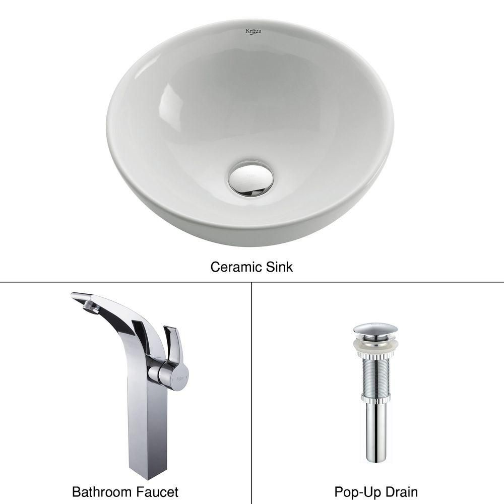 Round Ceramic Sink in White with Illusio Faucet in Chrome
