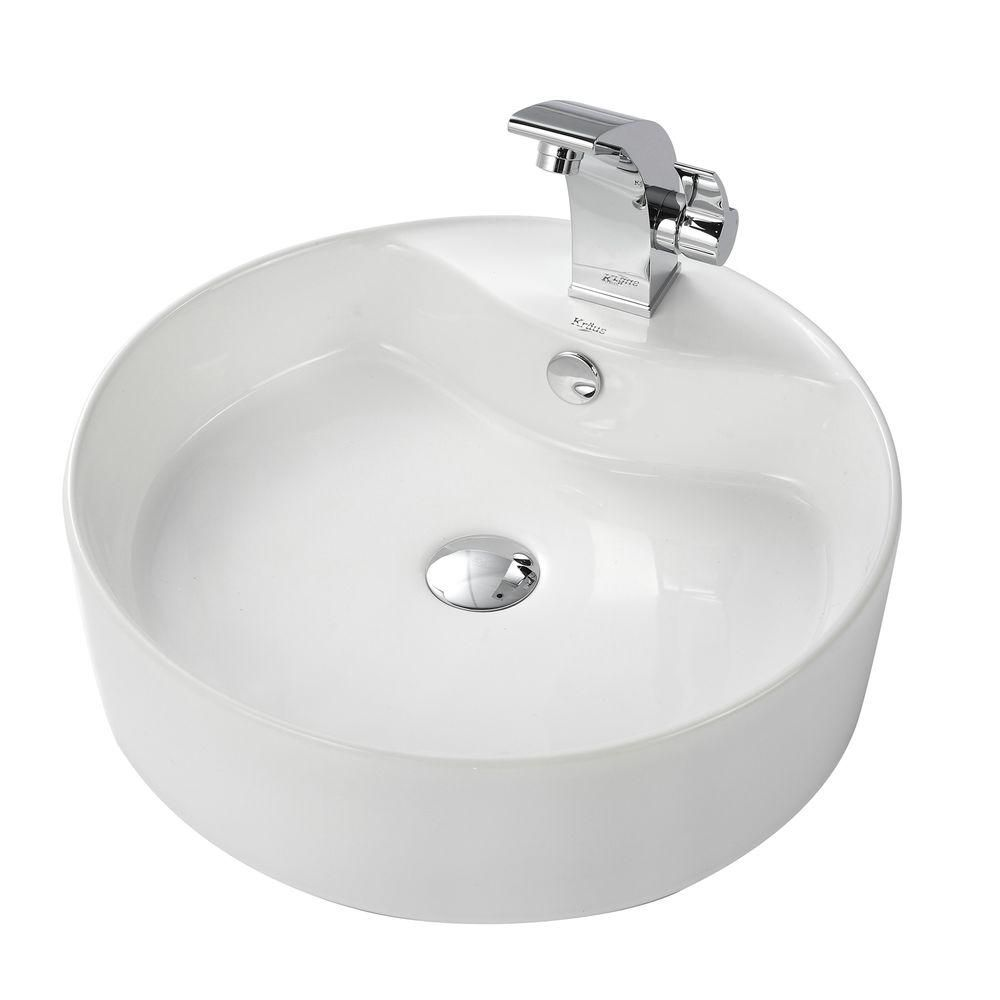 Round Ceramic Sink in White with Illusio Basin Faucet in Chrome