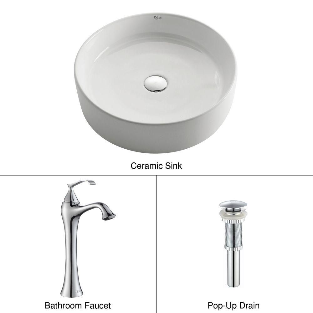 Round Ceramic Sink in White with Ventus Faucet in Chrome