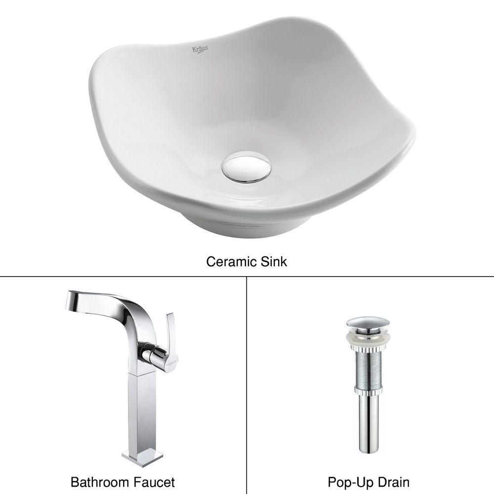 Tulip Ceramic Vessel Sink in White with Typhon Faucet in Chrome