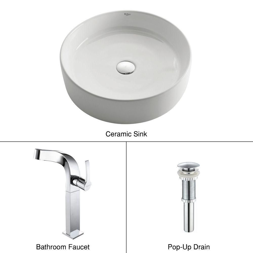 Lavabo rond blanc en céramique avec robinet Typhon, chrome