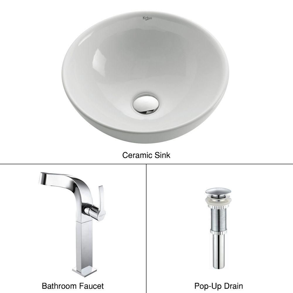 Round Ceramic Sink in White with Typhon Faucet in Chrome