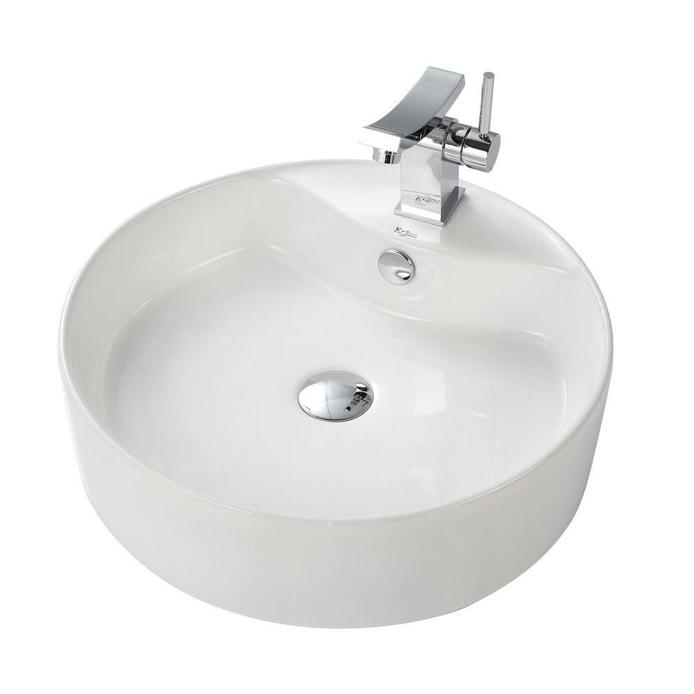 Round Ceramic Sink in White with Unicus Basin Faucet in Chrome