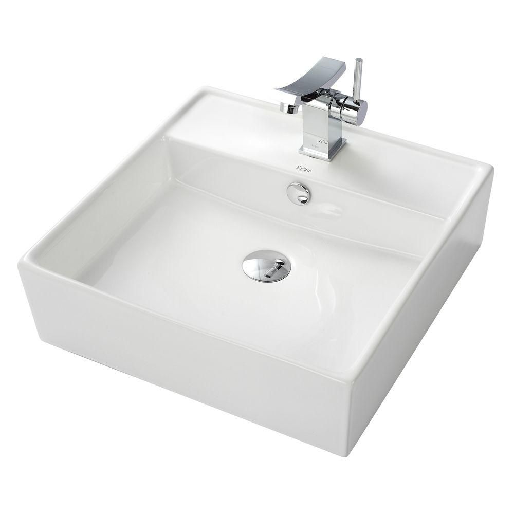 Square Ceramic Sink in White with Unicus Basin Faucet in Chrome