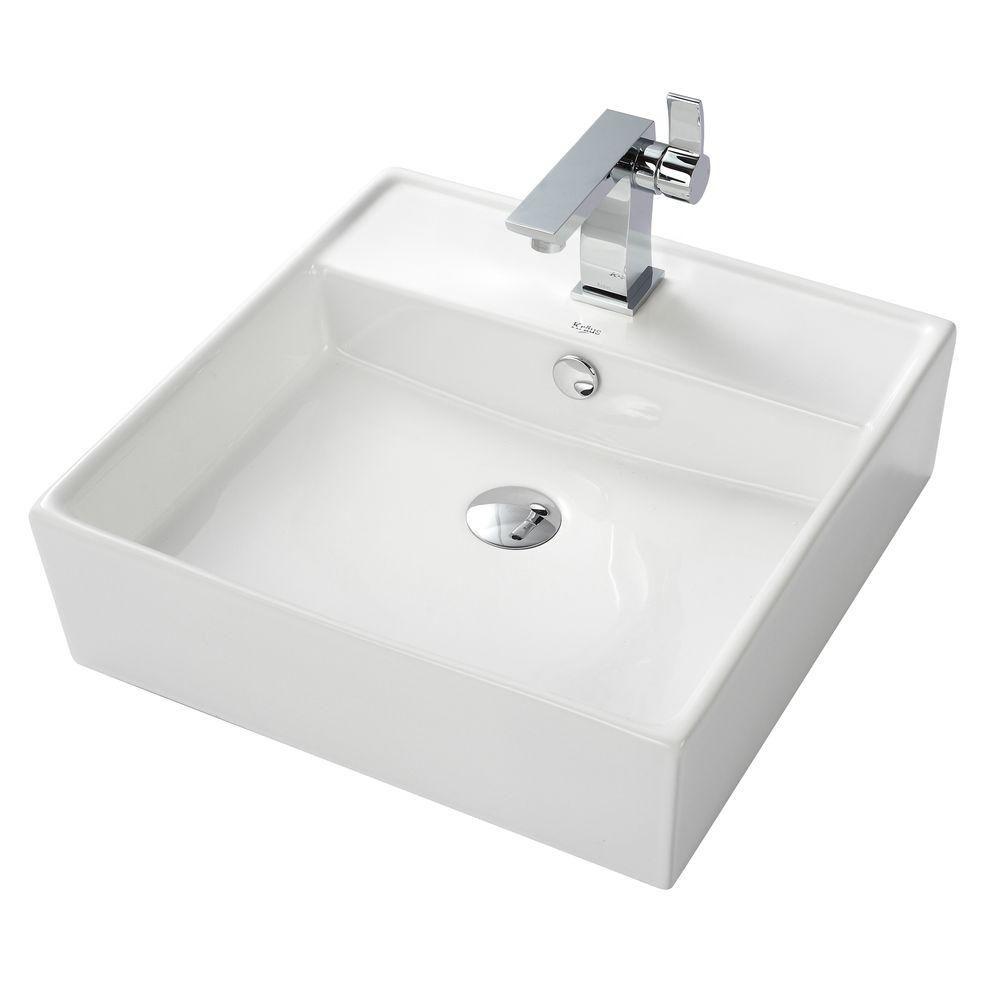 Square Ceramic Sink in White with Sonus Basin Faucet in Chrome