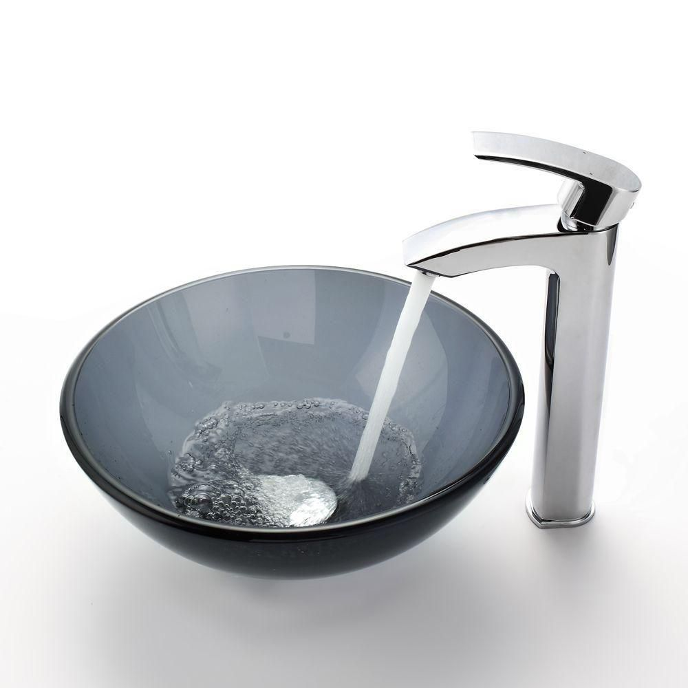 14-inch Clear Glass Vessel Sink in Black with Visio Faucet in Chrome