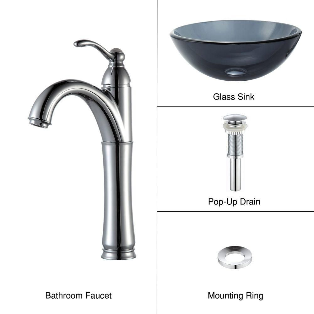 Lavabo-vasque en verre noir transparent de 35,6 cm (14 po) et robinet Riviera, chrome