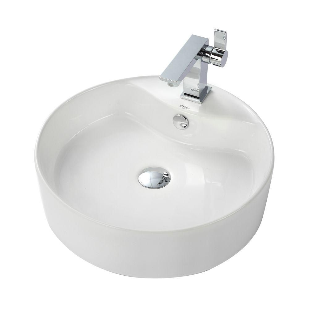 Round Ceramic Sink in White with Sonus Basin Faucet in Chrome