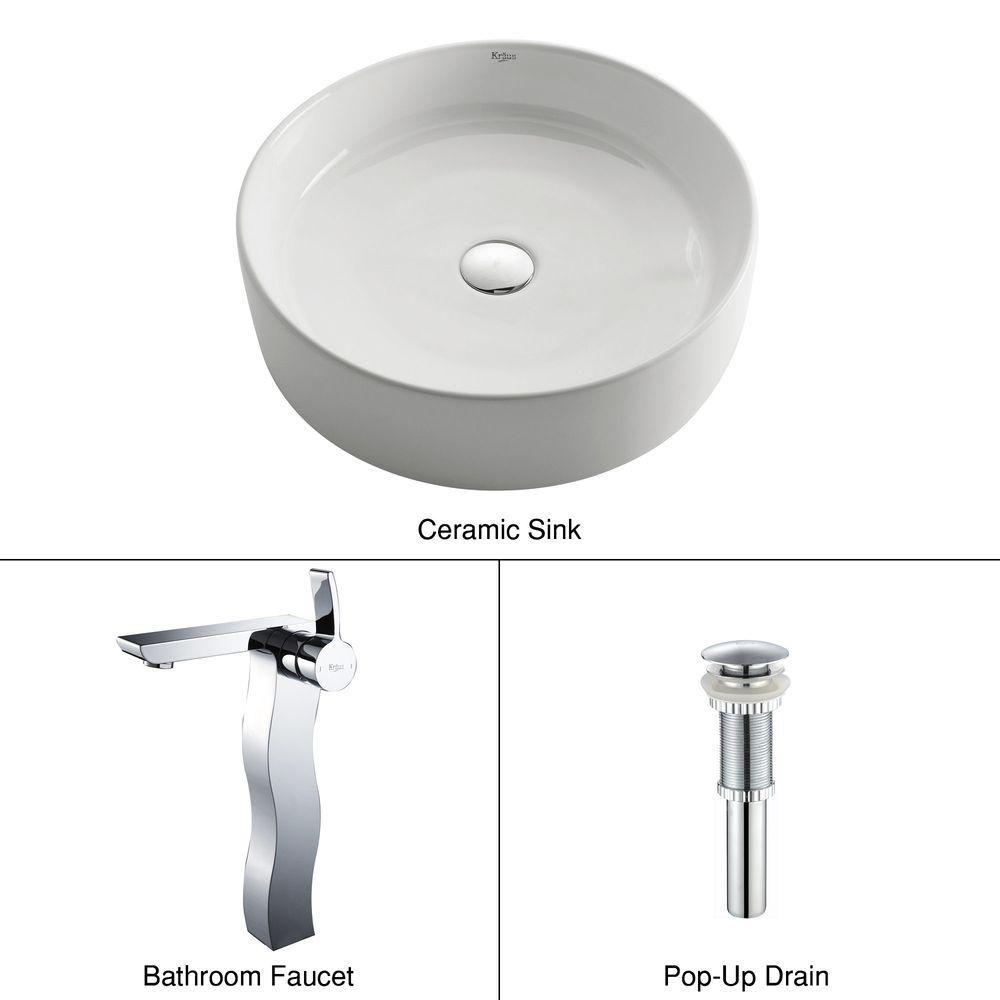 Lavabo rond blanc en céramique avec robinet Sonus, chrome