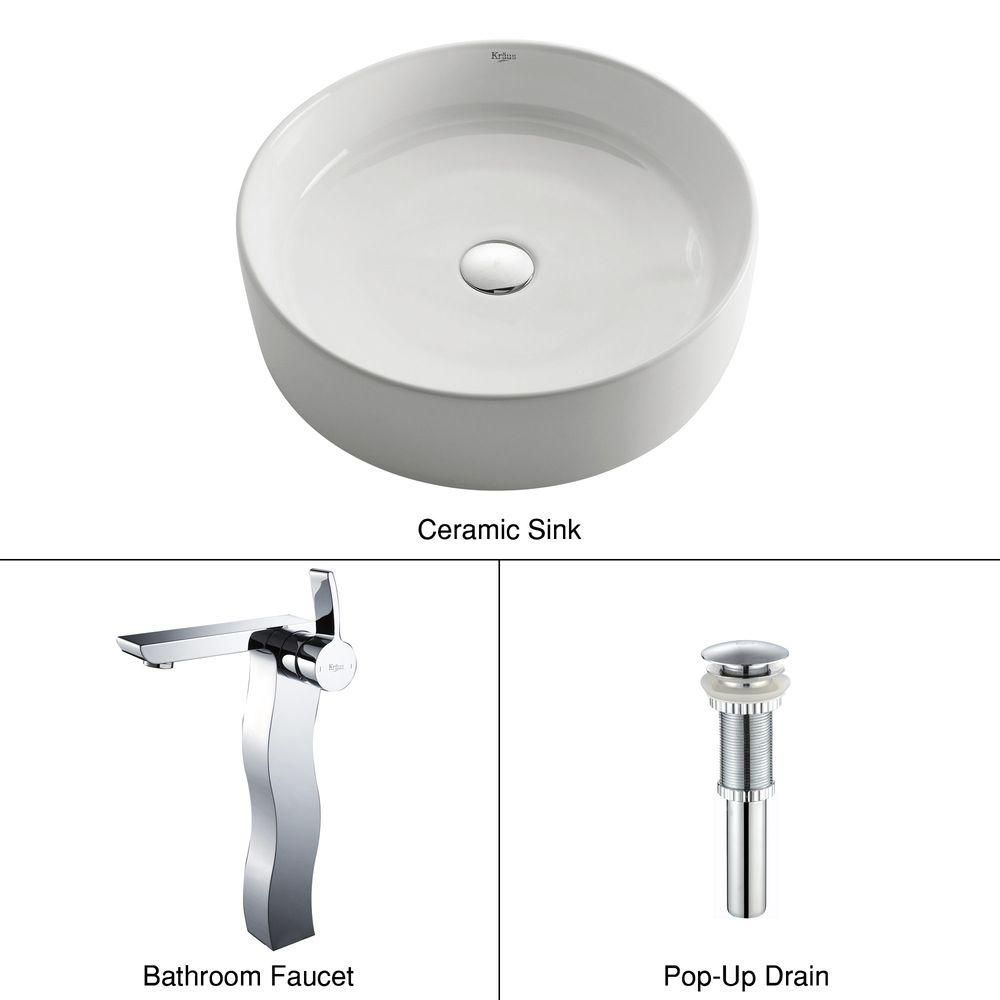 Round Ceramic Sink in White with Sonus Faucet in Chrome