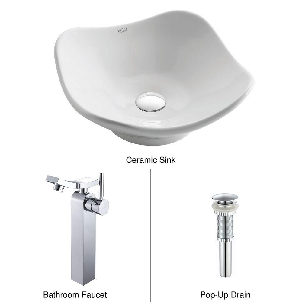 Tulip Ceramic Vessel Sink in White with Unicus Faucet in Chrome