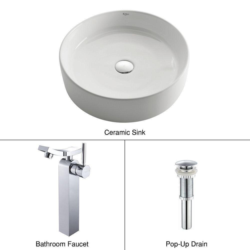 Lavabo rond blanc en céramique avec robinet Unicus, chrome