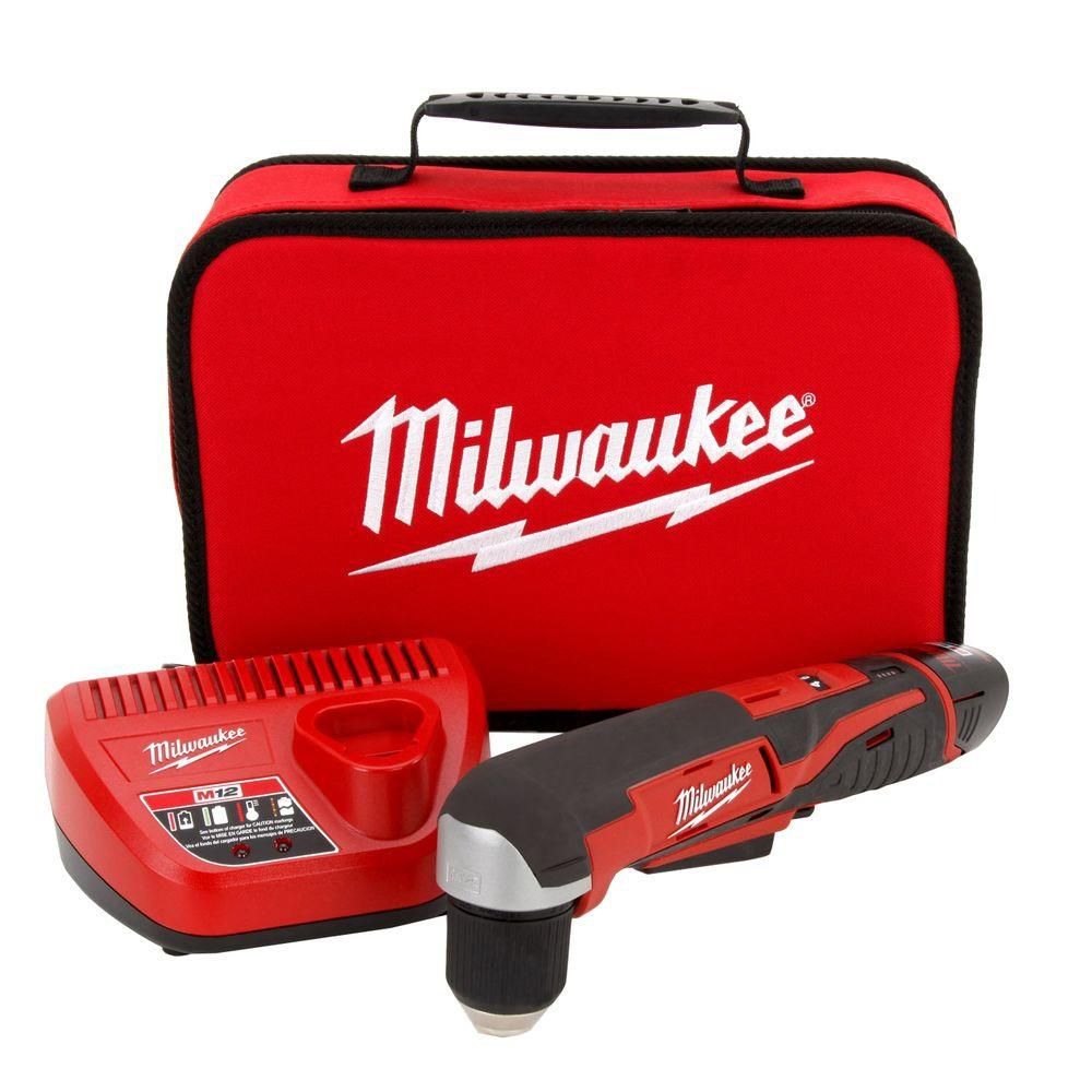 Milwaukee Tool M12 12V 3/8-inch Cordless Lithium-Ion Right Angle Drill Driver Kit