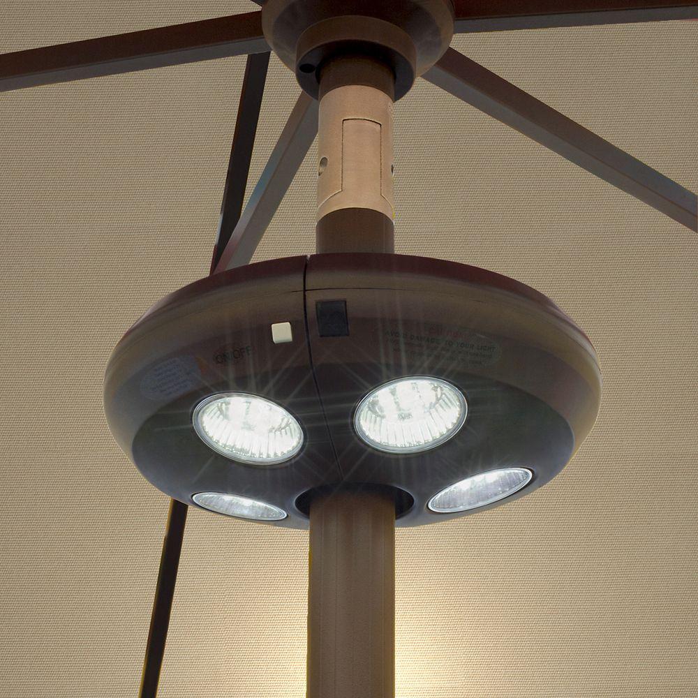 Dispositif déclairage pour parasol, 4 lumières LED rechargeables