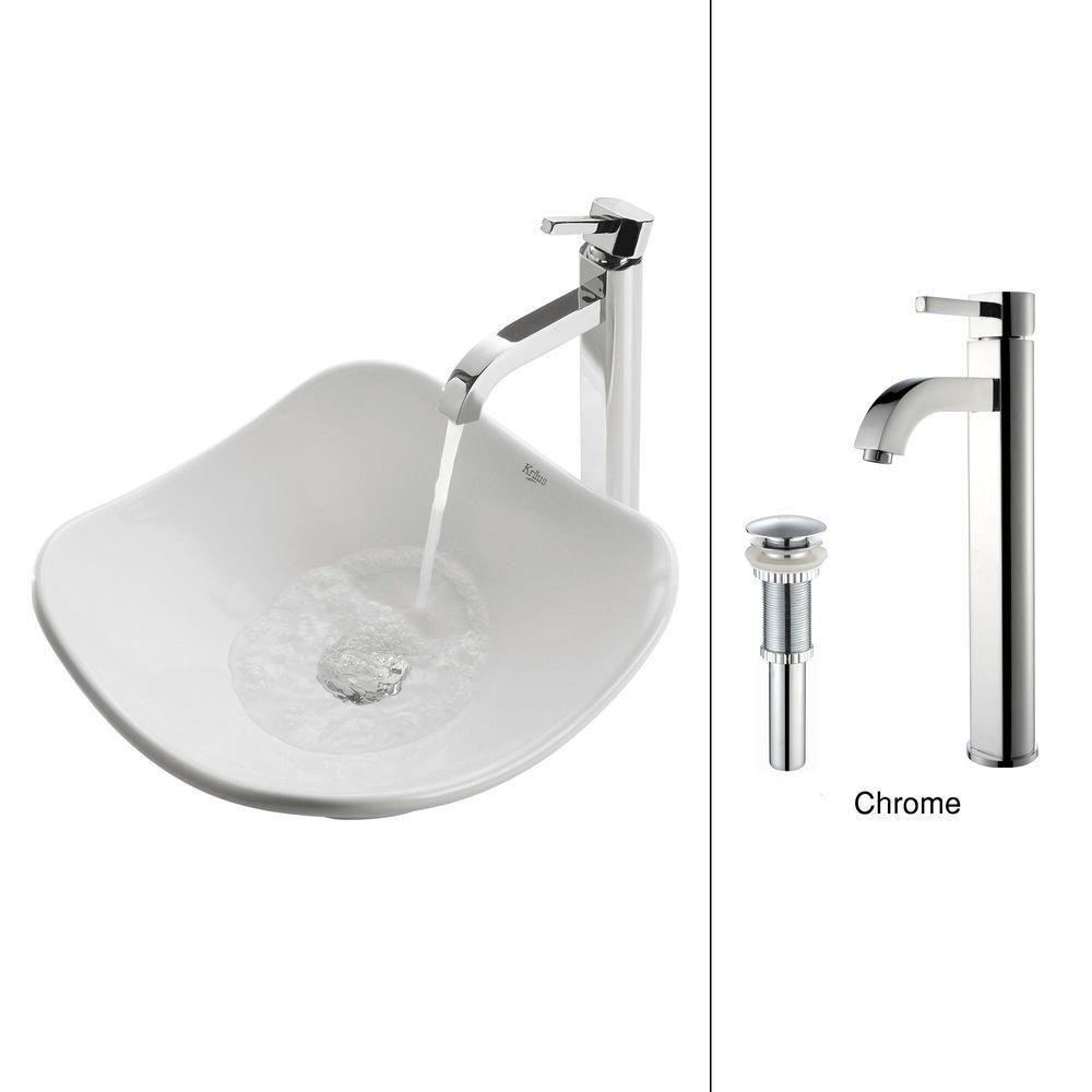 Tulip Ceramic Vessel Sink in White with Ramus Faucet in Chrome