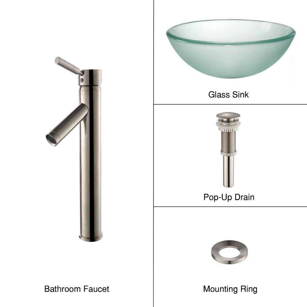 14-inch Frosted Glass Vessel Sink with Sheven Faucet in Satin Nickel
