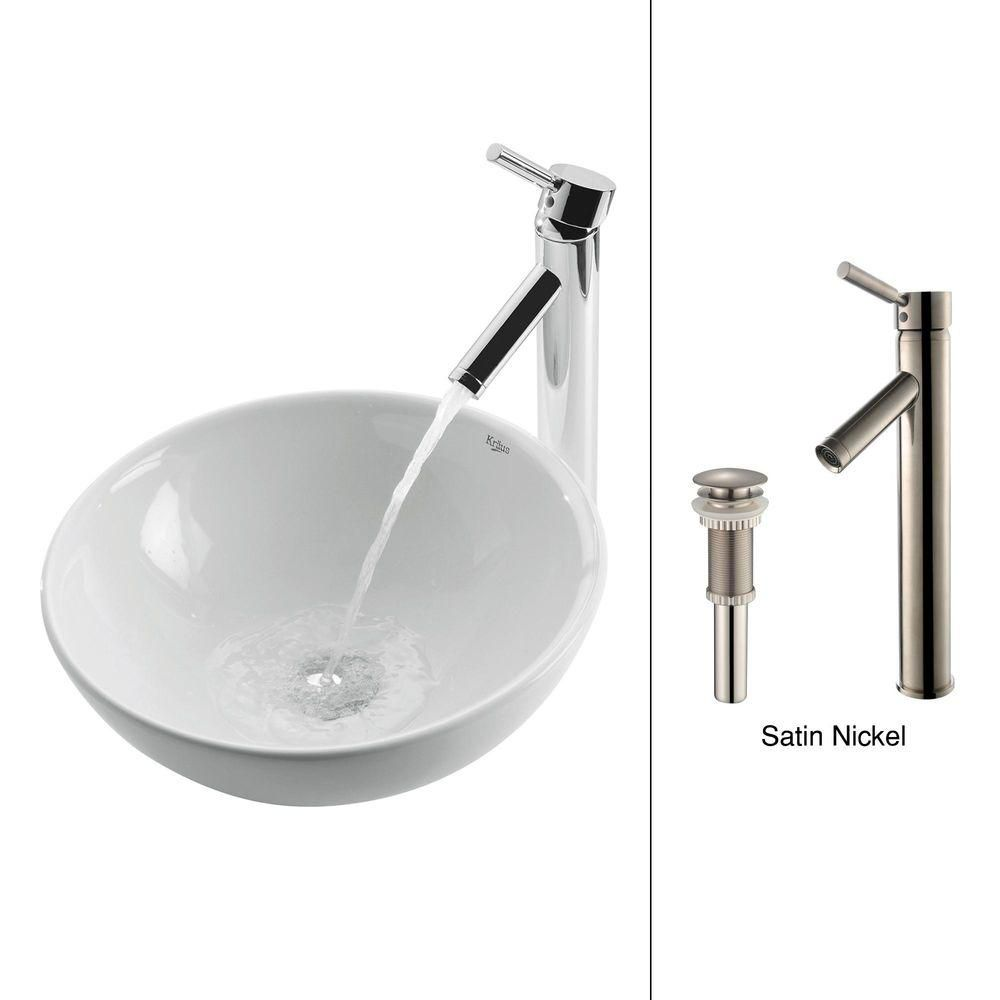 Round Ceramic Sink in White with Sheven Faucet in Satin Nickel