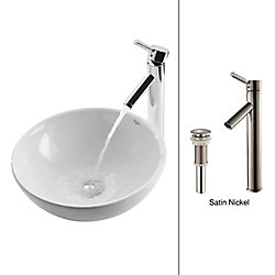 Kraus 16-inch x 13.80-inch x 16-inch Circular Ceramic Bathroom Sink with Sheven Faucet in Satin Nickel