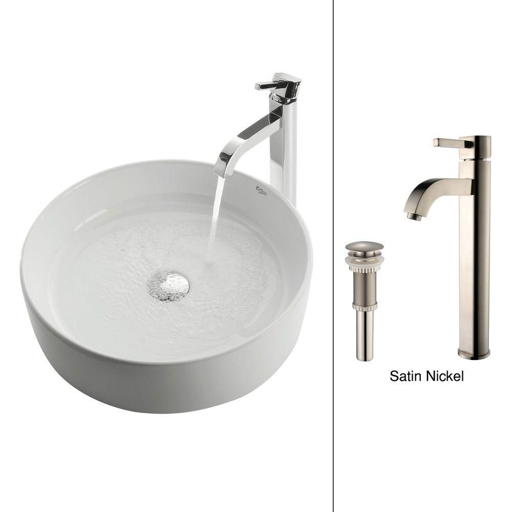 Round Ceramic Sink in White with Ramus Faucet in Satin Nickel