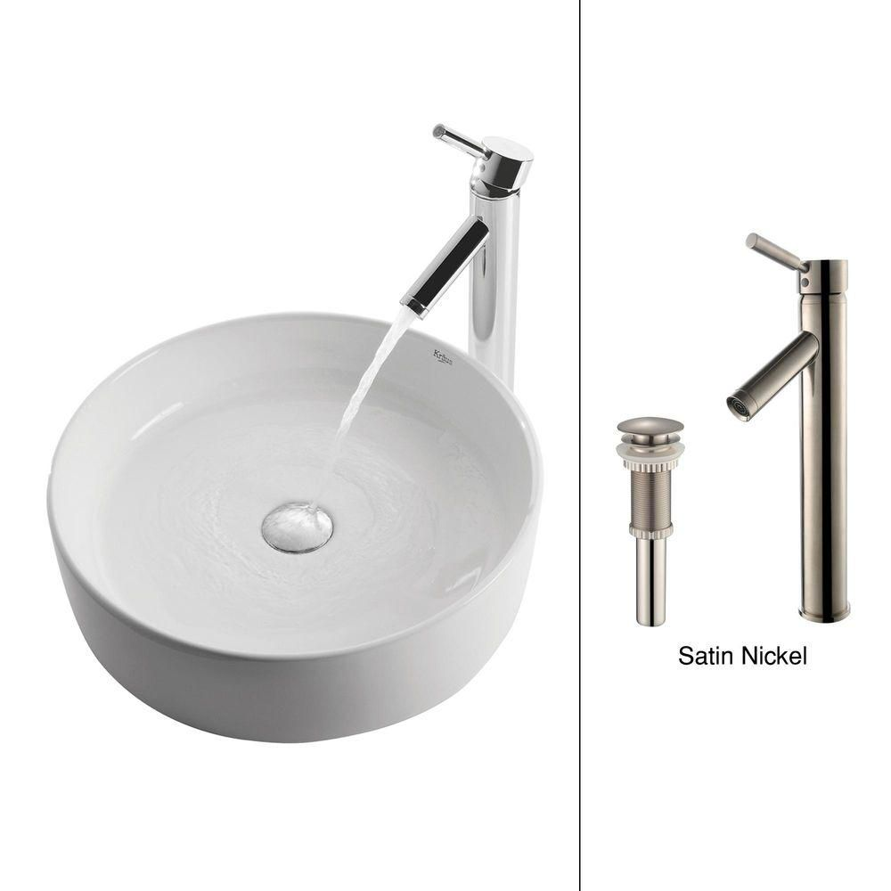 Kraus 17.70-inch x 13.80-inch x 17.70-inch Circular Ceramic Bathroom Sink with Sheven Faucet