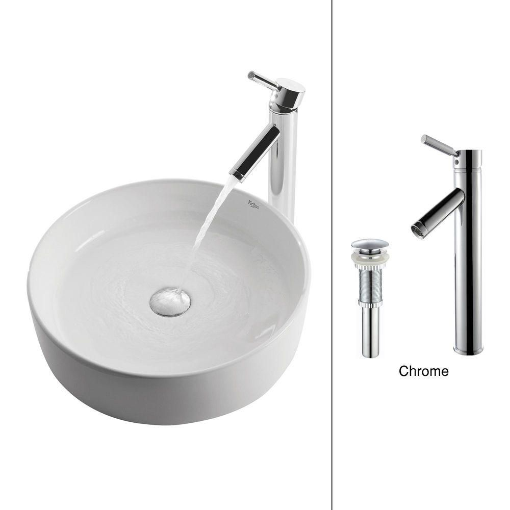 Round Ceramic Sink in White with Sheven Faucet in Chrome