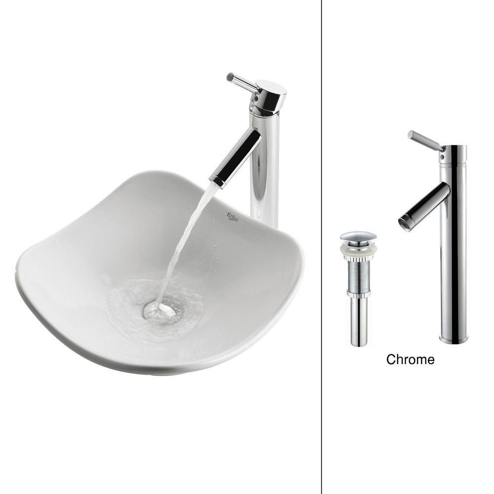 Tulip Ceramic Vessel Sink in White with Sheven Faucet in Chrome