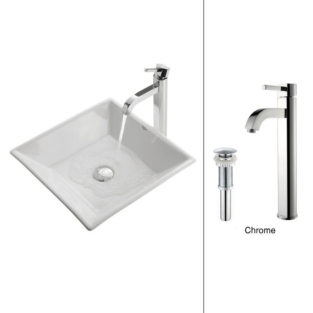 Kraus 16.80-inch x 12.50-inch x 16.80-inch 1-Hole Square Ceramic Bathroom Sink with Ramus Faucet in Chrome
