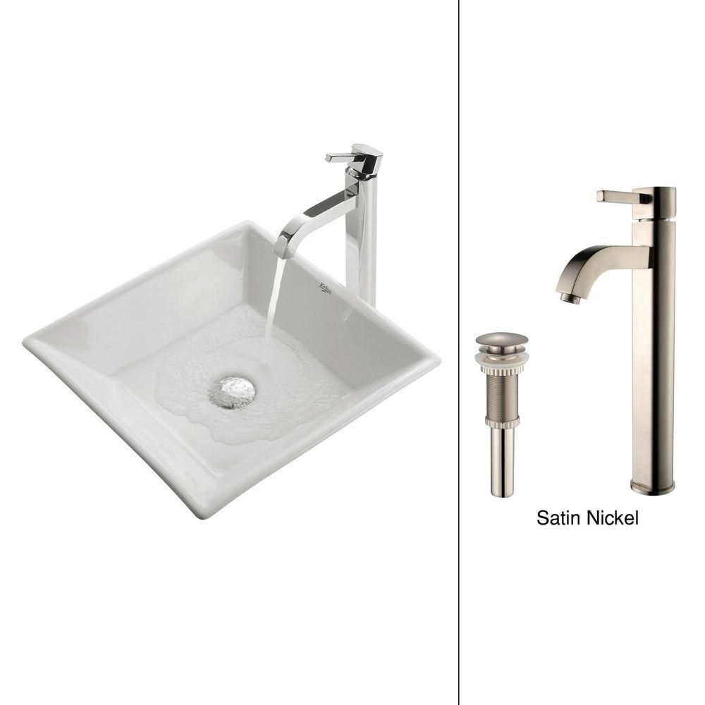 Kraus 16.80-inch x 12.50-inch x 16.80-inch Square Ceramic Bathroom Sink with Ramus Faucet in Satin Nickel