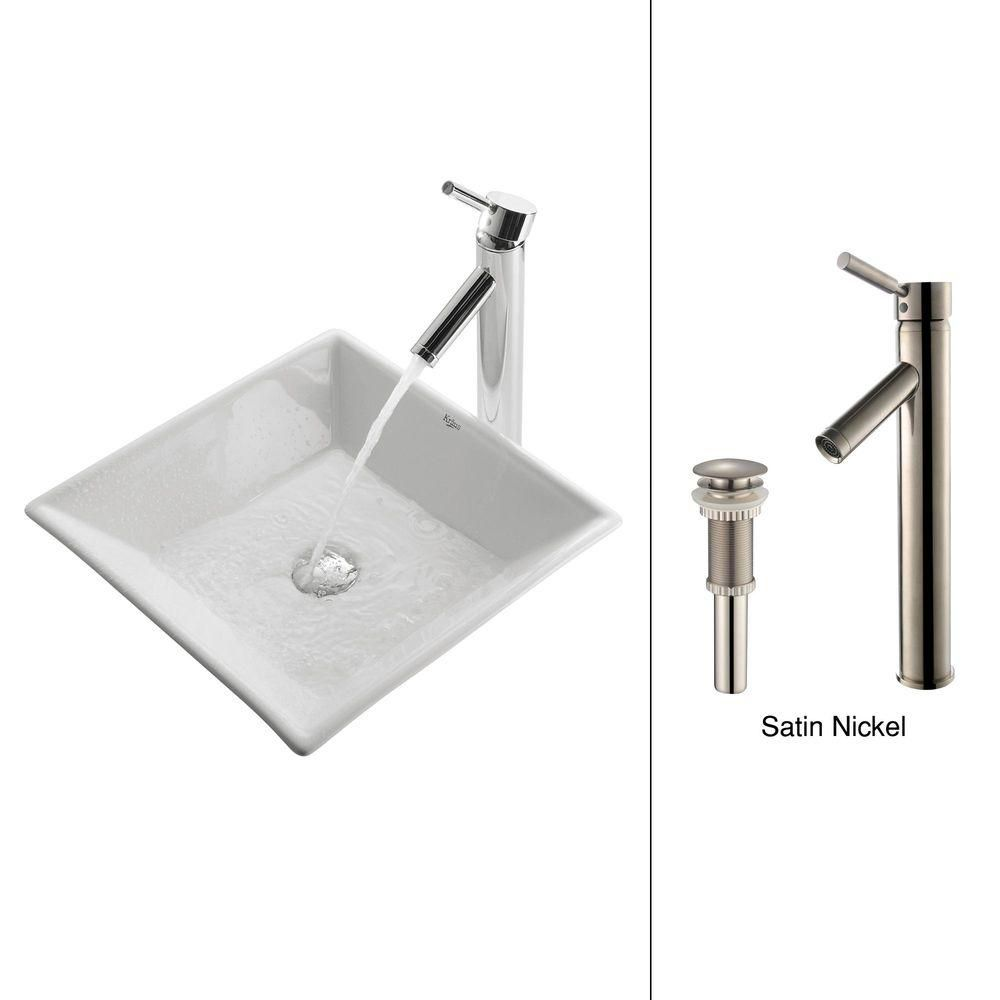 Kraus 16.80-inch x 13.80-inch x 16.80-inch Square Ceramic Bathroom Sink with Sheven Faucet in Satin Nickel