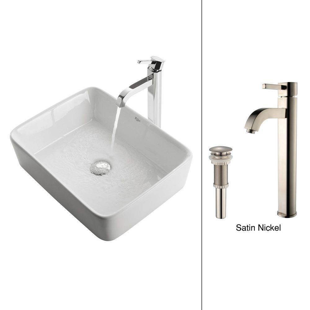 Kraus Rectangular Ceramic Vessel Sink in White with Ramus Faucet in Satin Nickel