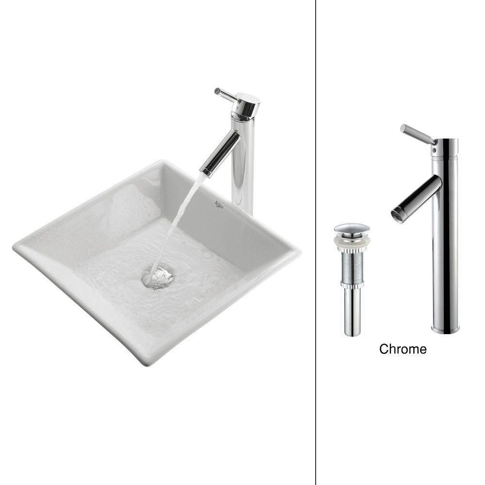 Kraus 16.80-inch x 13.80-inch x 16.80-inch 1-Hole Square Ceramic Bathroom Sink with Sheven Faucet