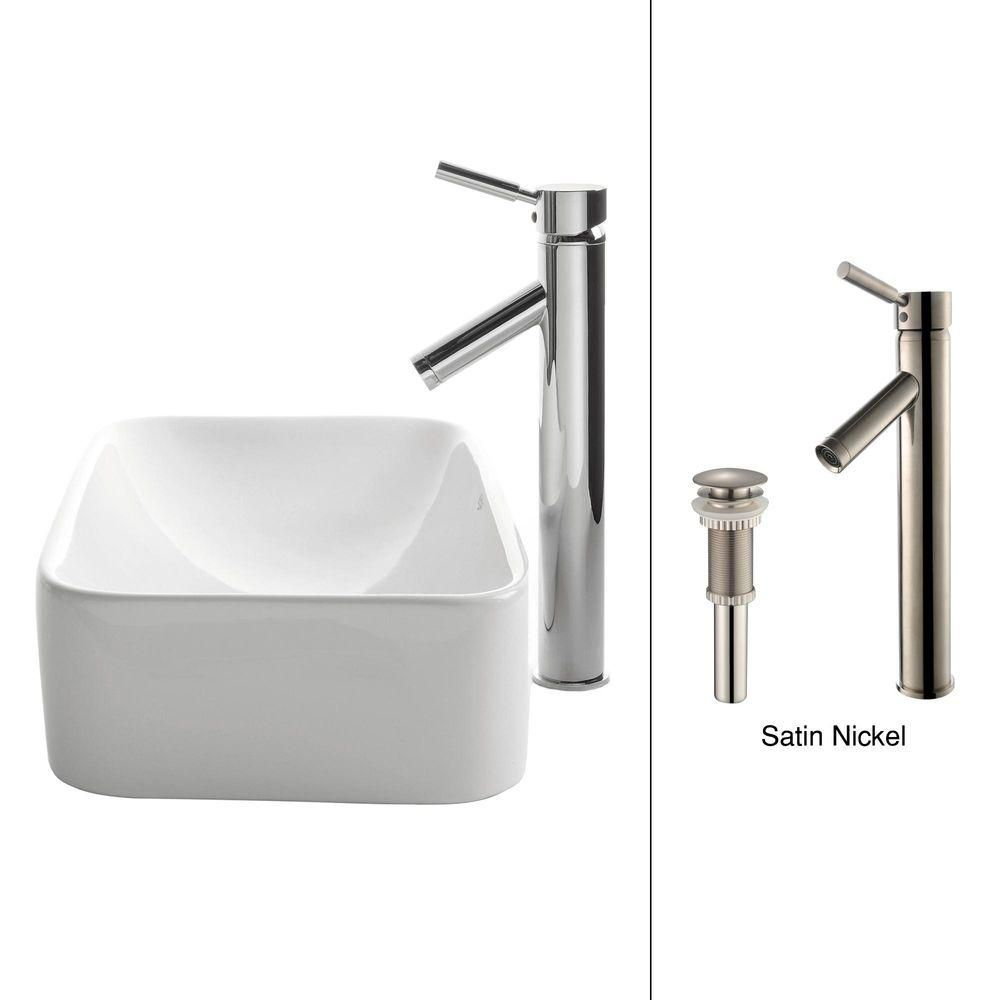 Rectangular Ceramic Vessel Sink in White with Sheven Faucet in Satin Nickel