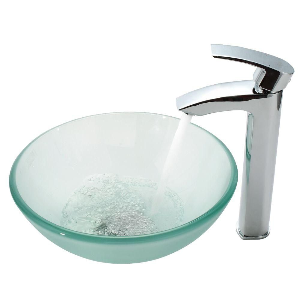 14-inch Frosted Glass Vessel Sink with Visio Faucet in Chrome