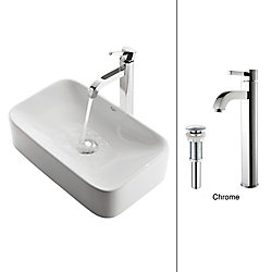 Kraus 19.44-inch x 12.50-inch x 11.84-inch Rectangular Ceramic Bathroom Sink with Ramus Faucet in Chrome