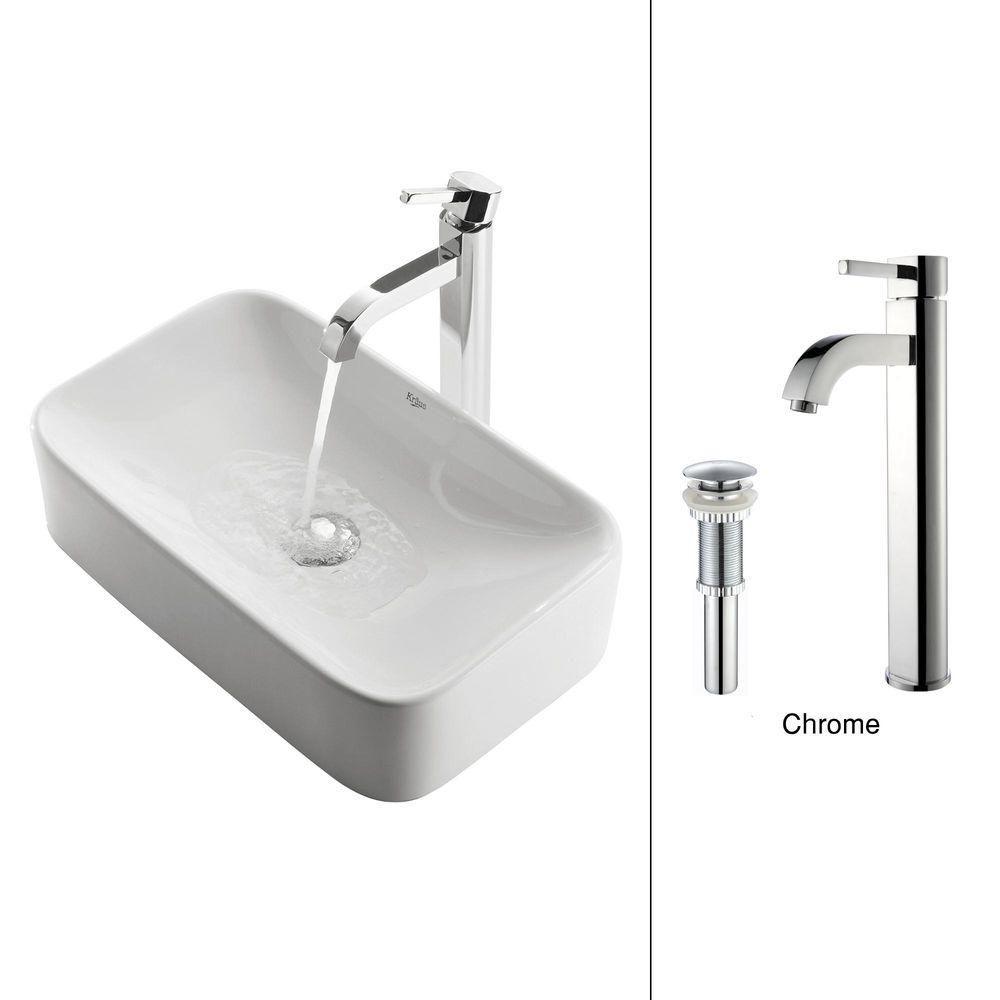 Rectangular Ceramic Vessel Sink in White with Ramus Faucet in Chrome