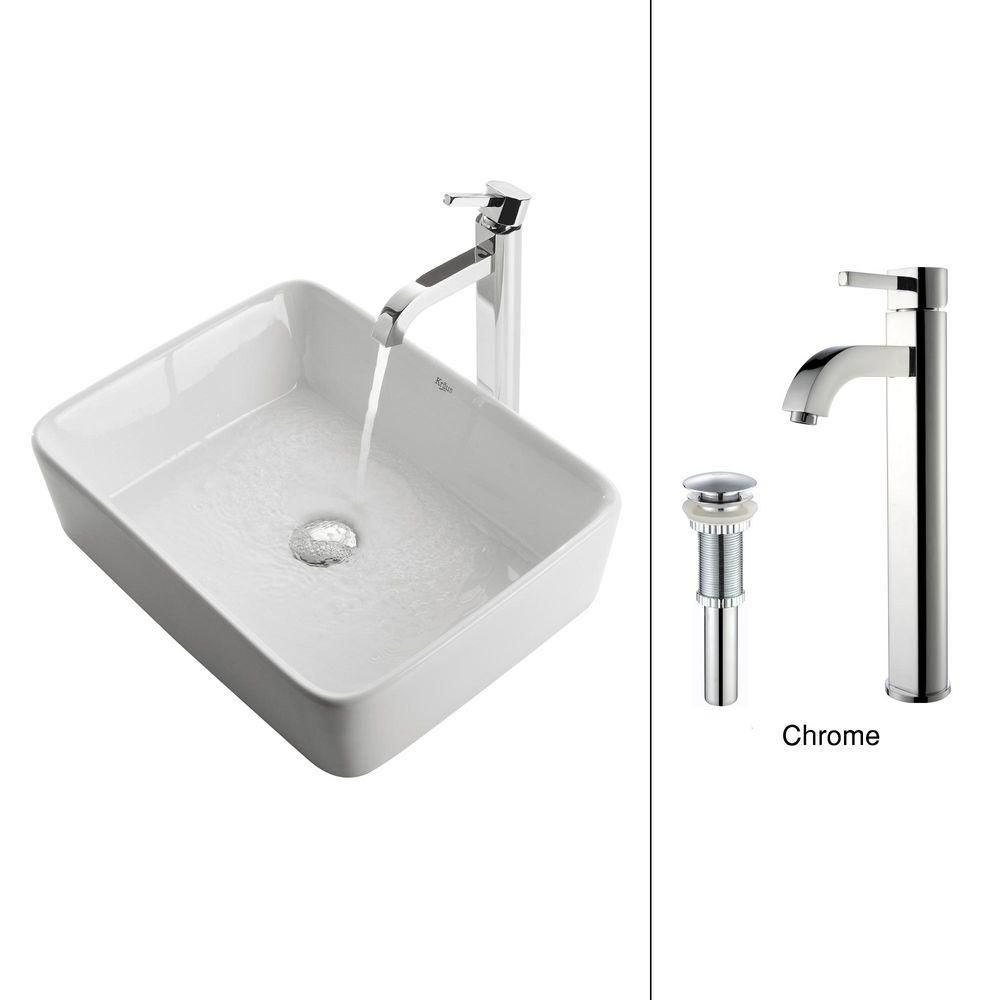 Rectangular Ceramic Vessel Sink in White with Ramus Faucet in Chrome