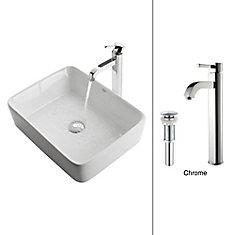 19.20-inch x 12.50-inch x 15.20-inch Rectangular Ceramic Bathroom Sink with Ramus Faucet in Chrome