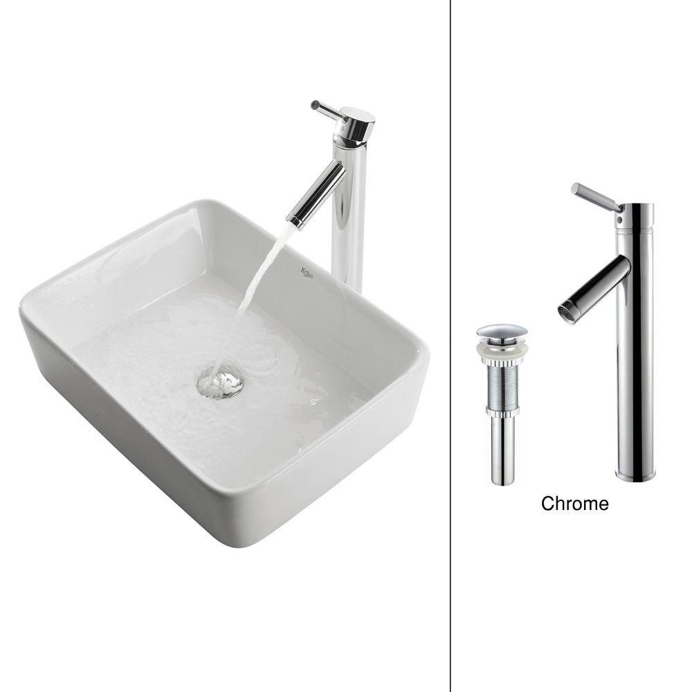 Kraus 19.20-inch x 13.80-inch x 15.20-inch Rectangular Ceramic Bathroom Sink with Sheven Faucet in Chrome