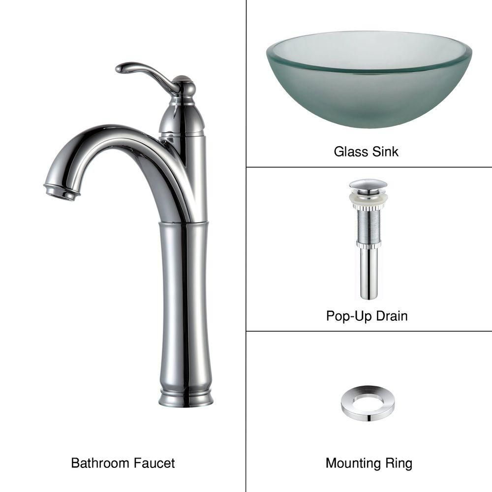 14-inch Frosted Glass Vessel Sink with Riviera Faucet in Chrome