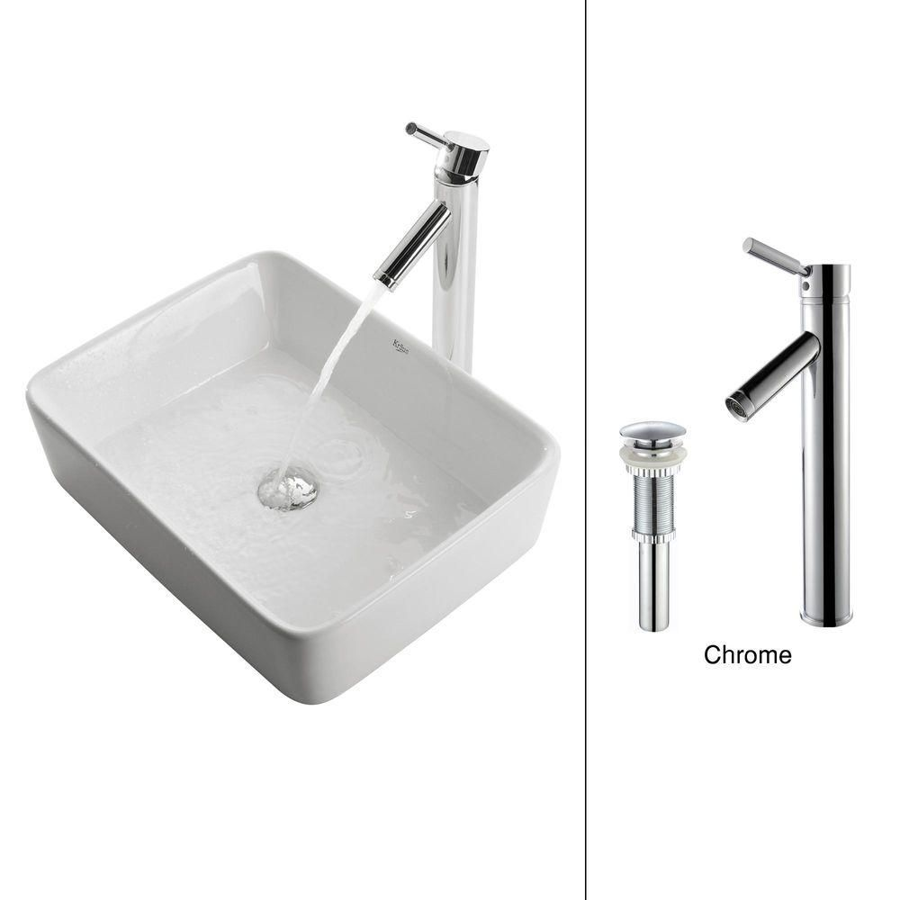 Kraus 15.20-inch x 13.80-inch x 15.20-inch 1-Hole Square Ceramic Bathroom Sink with Sheven Faucet