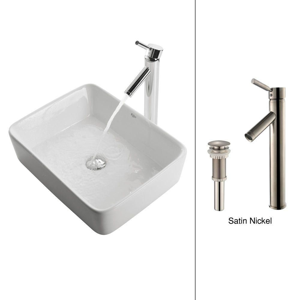 Square Ceramic Sink in White with Sheven Faucet in Satin Nickel
