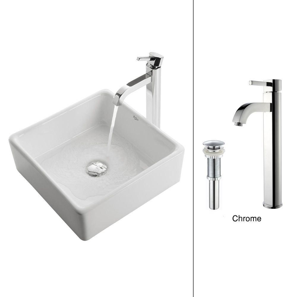 Kraus 15.20-inch x 12.50-inch x 15.20-inch 1-Hole Square Ceramic Bathroom Sink with Ramus Faucet in Chrome