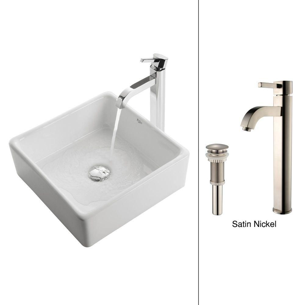 Square Ceramic Sink in White with Ramus Faucet in Satin Nickel