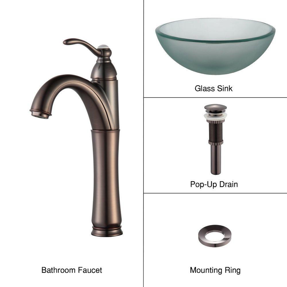 Lavabo-vasque en verre givré de 35,6 cm (14 po) et robinet Riviera, bronze huilé