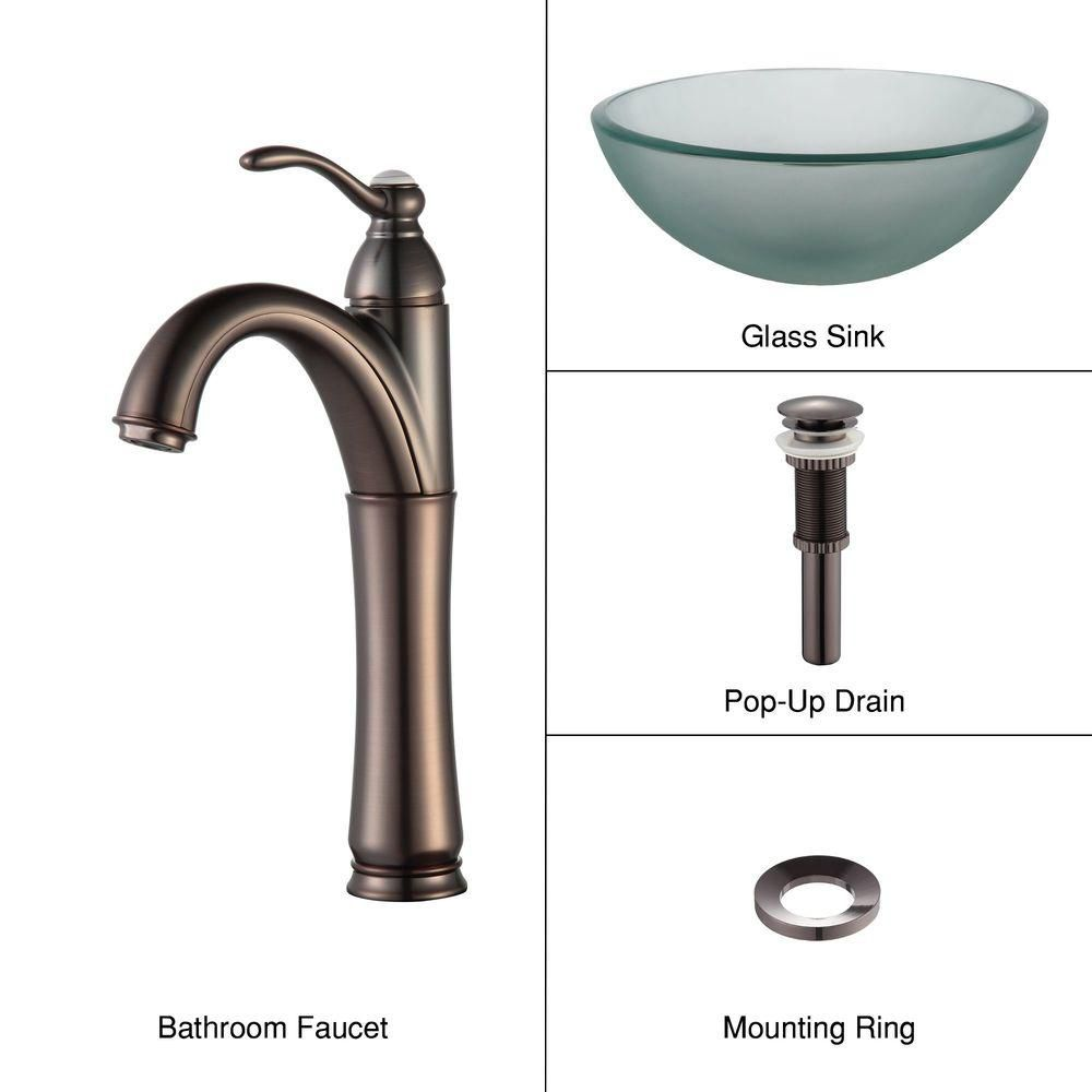 14-inch Frosted Glass Vessel Sink with Riviera Faucet in Oil-Rubbed Bronze